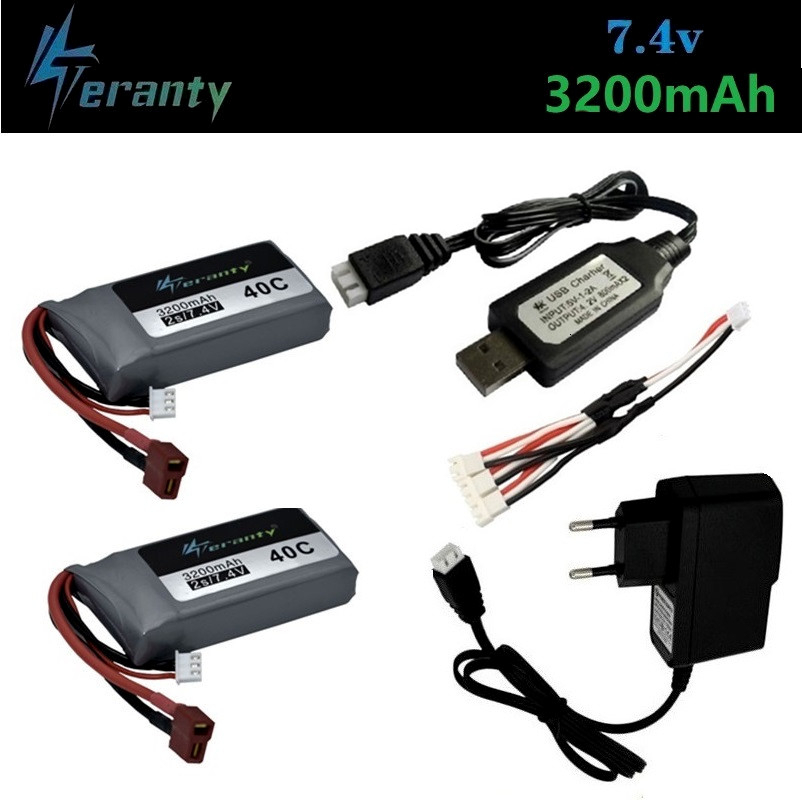 Upgrade 3200mah 7.4v Lipo Battery Charger Set For Wltoys 12428 12423 RC Four-wheel RC Vehicle Car For Feiyue 03 Q39 RC Parts