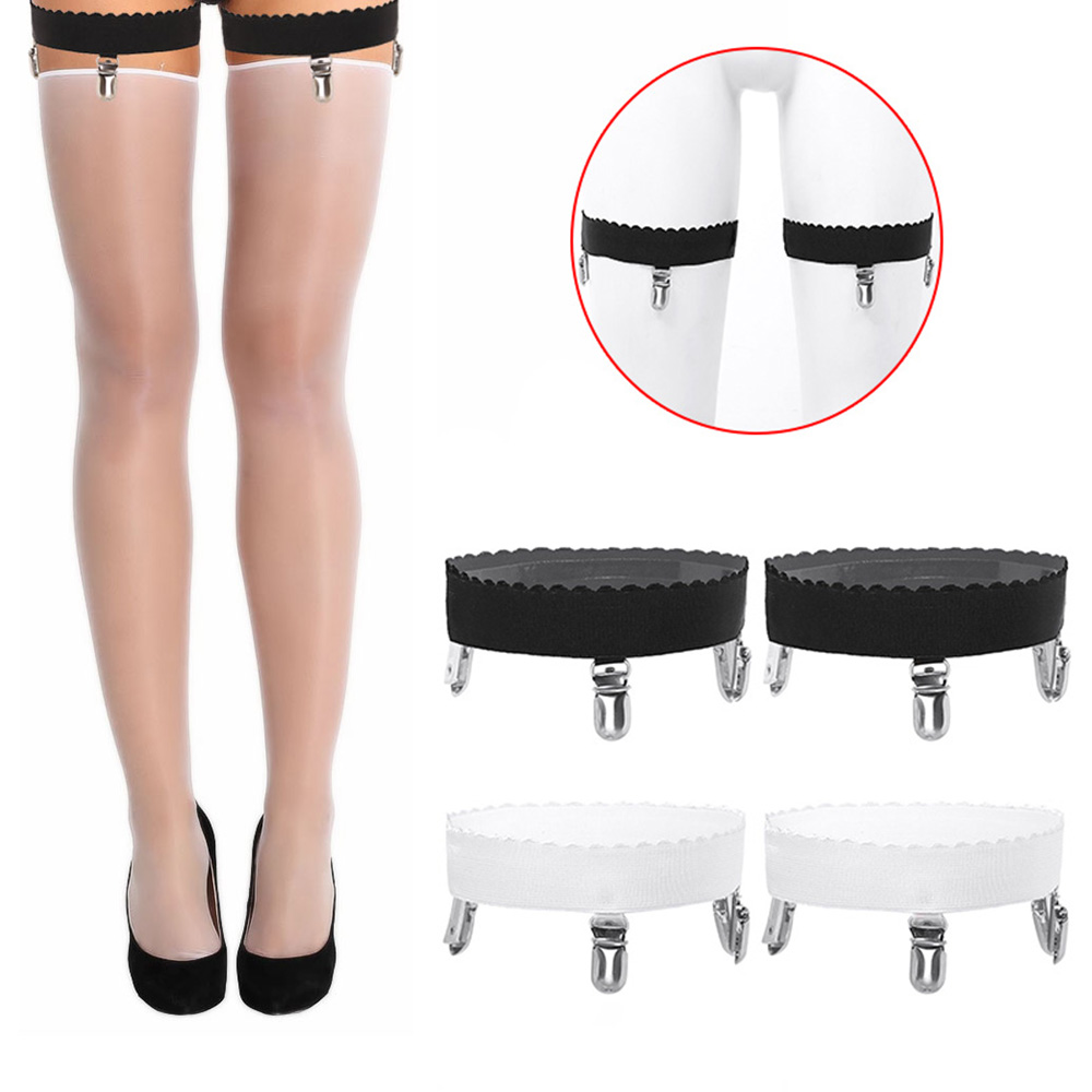 Women Sexy Lingerie Accessories Non-slip Silicone Elastic Thigh High Garter Belts Stockings Fastener Suspender with Metal Clips