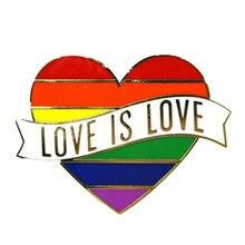 1 шт. LGBT Pride Rainbow Heart Pinback Button значок для геев, символом лесбиянок, булавка Love Is Equal, сделай сам, одежда, альпака, Швейные аксессуары