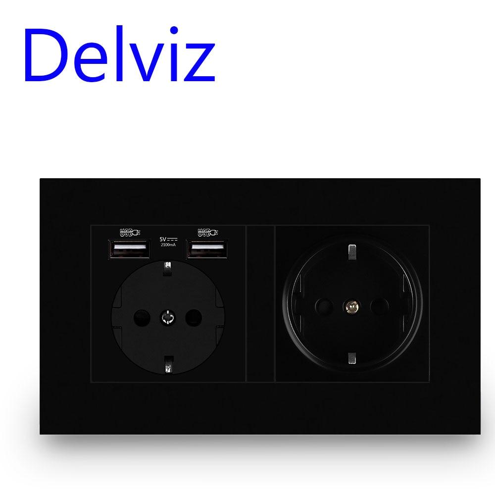 Delviz стены USB Мощность магазином розничной торговли при черный Панель Интерфейс для зарядки, переменный ток, 110 ~ 250V 146 мм * 86 мм, 16A двойной рамк...