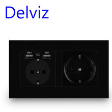 Delviz Wall USB Power Outlet, Black panel charging interface, AC 110~250V 146mm * 86mm, 16A Double frame EU Standard USB socket