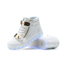 New Unisex Mens Girls USB Charging LED High Top Shoes Shining light  Adult Casual
