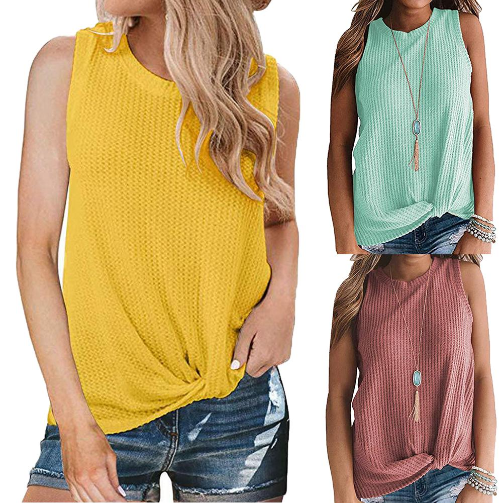 Fashion Sleeveless Sweaters Women Solid Color O Neck Sleeveless Knotted Knitted Sweaters Pullovers Women Pullover Ladies Sweater