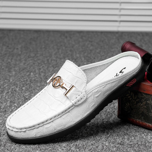 Image 3 - Moccasins Men Shoes Cowhide Social Hollow out Large Size Small Half Loafers