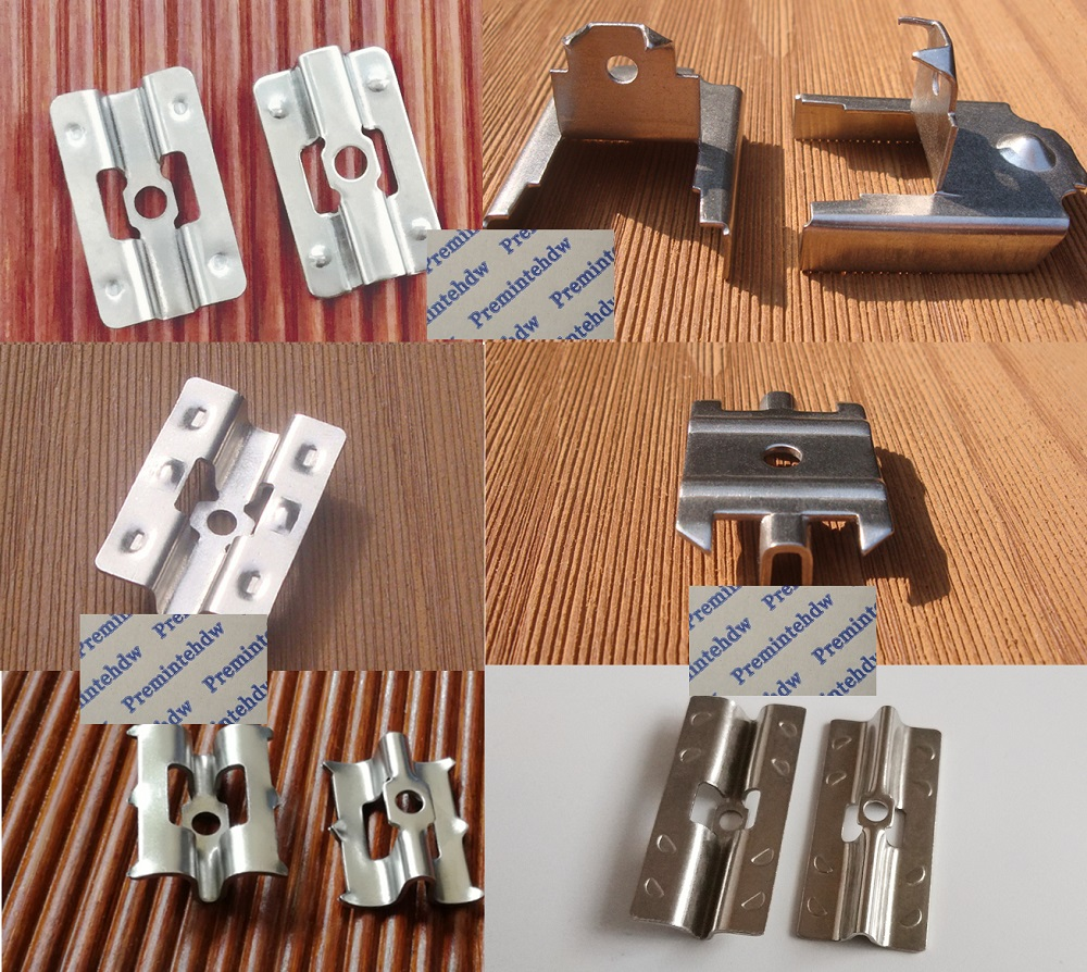 100Pcs/Lot 304 Stainless Steel Invisible Hidden Decking Flooring Clip Bracket Fastener Outdoor Flooring Thick WPC Bamboo Floor