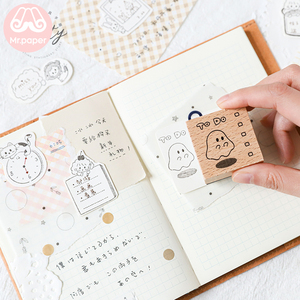 Mr Paper 8 Designs Rubbit Sheep Style Sketch Wooden Rubber Stamps for Scrapbooking Decoration DIY Craft Standard Wooden Stamps