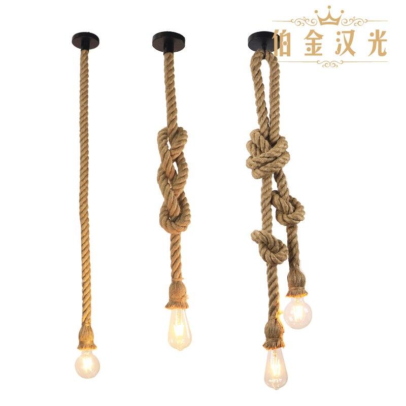 麻ロープペンダントライトヴィンテージレトロな性格産業用のランプハンギングロフトリビングルームレストランエジソン hanglamp