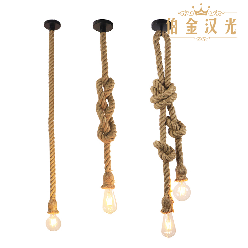 hemp rope pendant lights vintage retro personality industrial hanging lamp  for loft living room restaurant Edison hanglamp