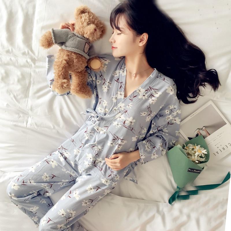 New Fashion Women Print Sweet Womens Long Sleeve Kimono   Pajamas     Sets   Warm Ladies Sleepwear V-neck Japanese Style Home Clothing