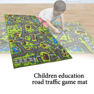 Image 5 - Children Road Traffic Game Mat Town City Blanket Green Road Child Play Mat Carpet For Baby Crawling Blanket Floor Carpet Rug Mat