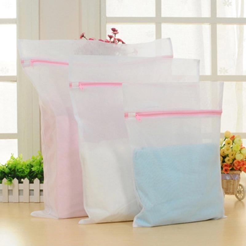 1Pcs Wash Laundry Bag Clothes Foldable Care Useful Protection Mesh Mesh Clothes Wash Bag Bra Wash Bag Zipper Laundry Bag