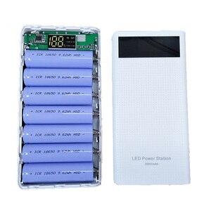 Image 2 - 7x18650 סוללה מחזיק DIY כוח בנק קופסא פלסטיק פגז מקרה סוג C USB יציאת תצוגת Powerbank תיבת אביזרים שחור לבן כחול