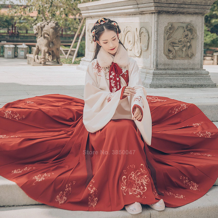 Ancient Chinese Costume Fairy Cosplay Vintage Embroidery Floral Traditional Hanfu Dress For Women Carnival Party New Year Folk