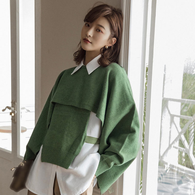 LANMREM 2020 Original Two-piece Hooded Vest Sweater Tied Bandwidth Loose Long Sleeves Outside Sweaters Women 19B-a220