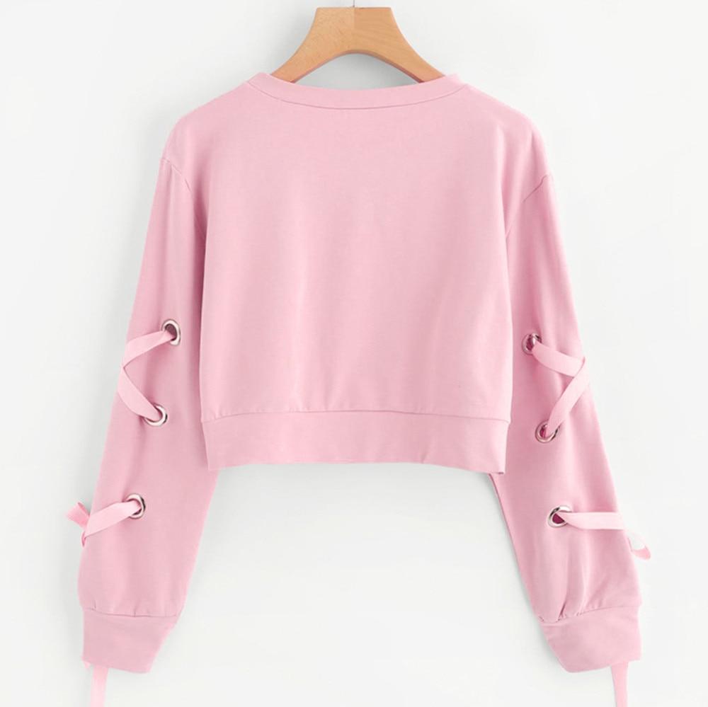 Women Crop Top Hoodie Casual Lace Up Long Sleeve Pink Bandage Pullover Cropped Top Sweatshirt Sweat Korean Femme Streetwear 2