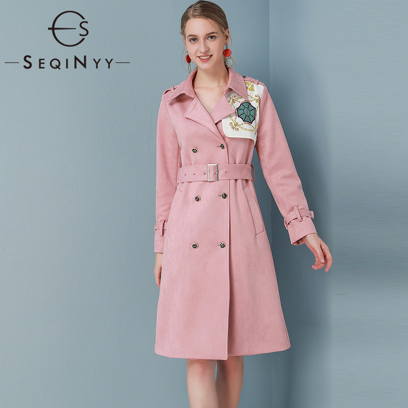 SEQINYY Pink Trench Coat 2020 Spring Autumn New Fashion Design ...