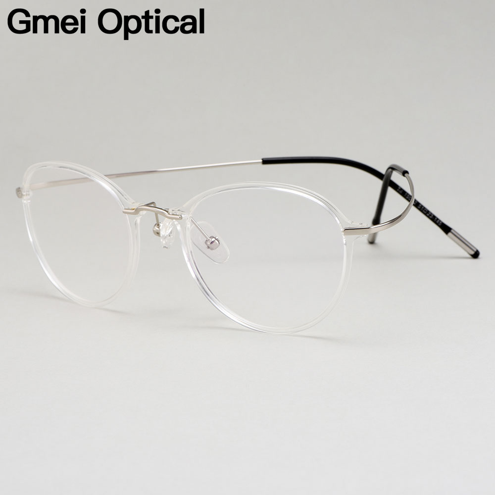 Gmei Optical Ultralight Beta Titanium Flexible Glasses Frame Women Round Prescription Eyeglasses Myopia Optical Frames M19002