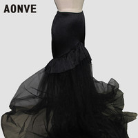 Aonve Black Skirt Long Gothic Women Skirts Goth Maxi Tulle Skirt Party Clothing Elastic Waist M 2XL