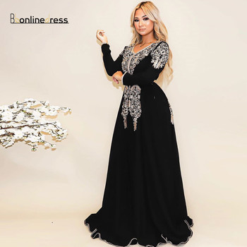 Bbonlinedress Moroccan Caftan Evening Dresses Embroidery Appliques Long Evening Dress Sleeve Arabic Muslim Formal Party Gown sexy elegant women formal gala party long dress plus size arabic muslim gold long sleeve evening prom dresses gown 2019