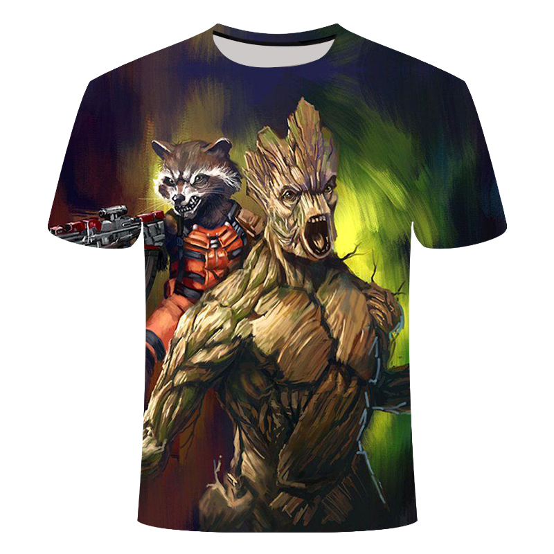2019 new T-shirt men's fun elf print 3D raccoon T-shirt men's shirt men's printing T anime T-shirt hip-hop groot shirt tee