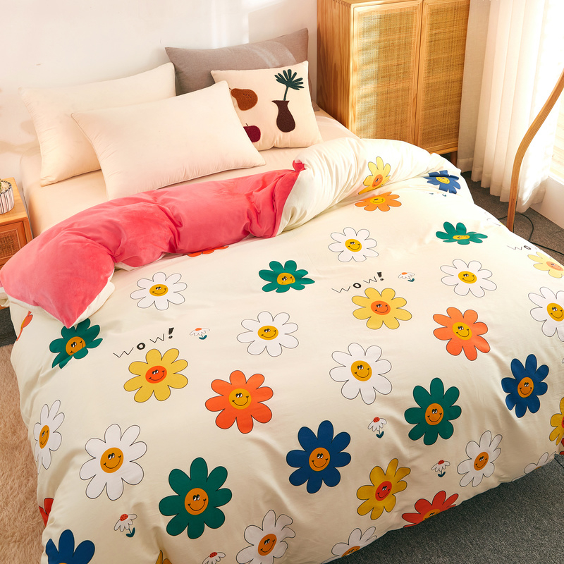 New Style AB Version Duvet Cover 1pc Winter Warm Thick Comforter Case Inner Side Warm Coral Fleece Comforter Quilt Cover