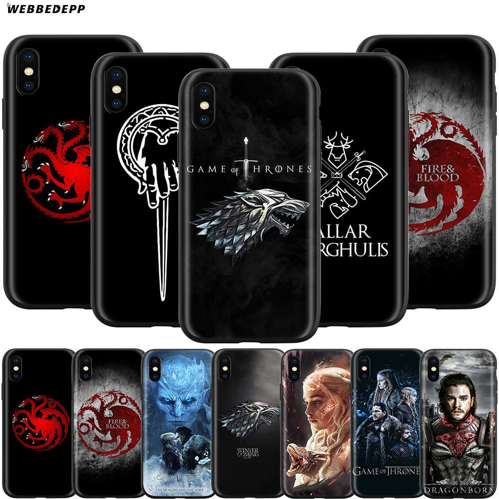 Webbedepp capa de game of thrones para apple, iphone 11 pro xs max xr x 8 7 6 6s plus 5 5S se