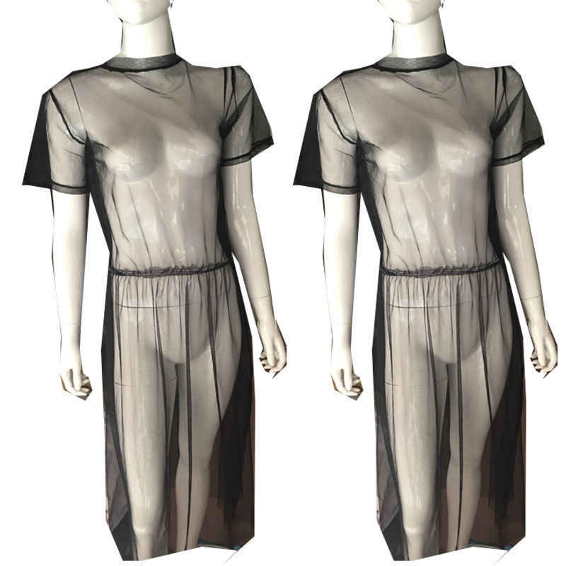 العلامة التجارية الجديدة 2020 الصيف النساء شبكة سوداء شفافة الشاطئ التستر ملابس الشاطئ شير فستان الشمس Mujer Biquinis التستر
