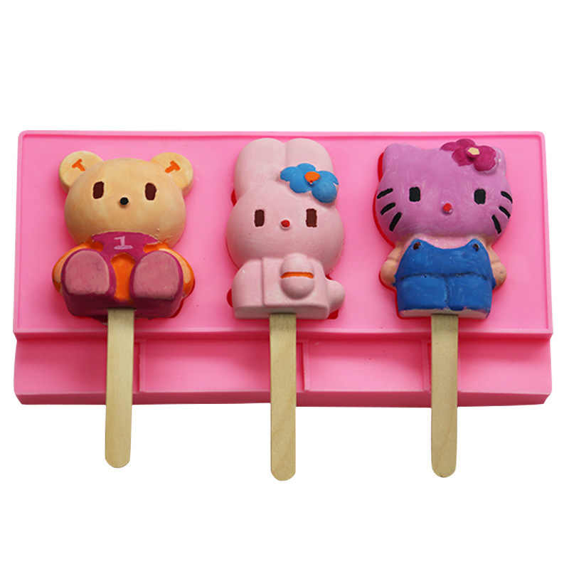 Phenomenal 3 Holes Cartoon Cat Rabbit Bear Ice Cream Mold Silicone Mold Birthday Cards Printable Benkemecafe Filternl