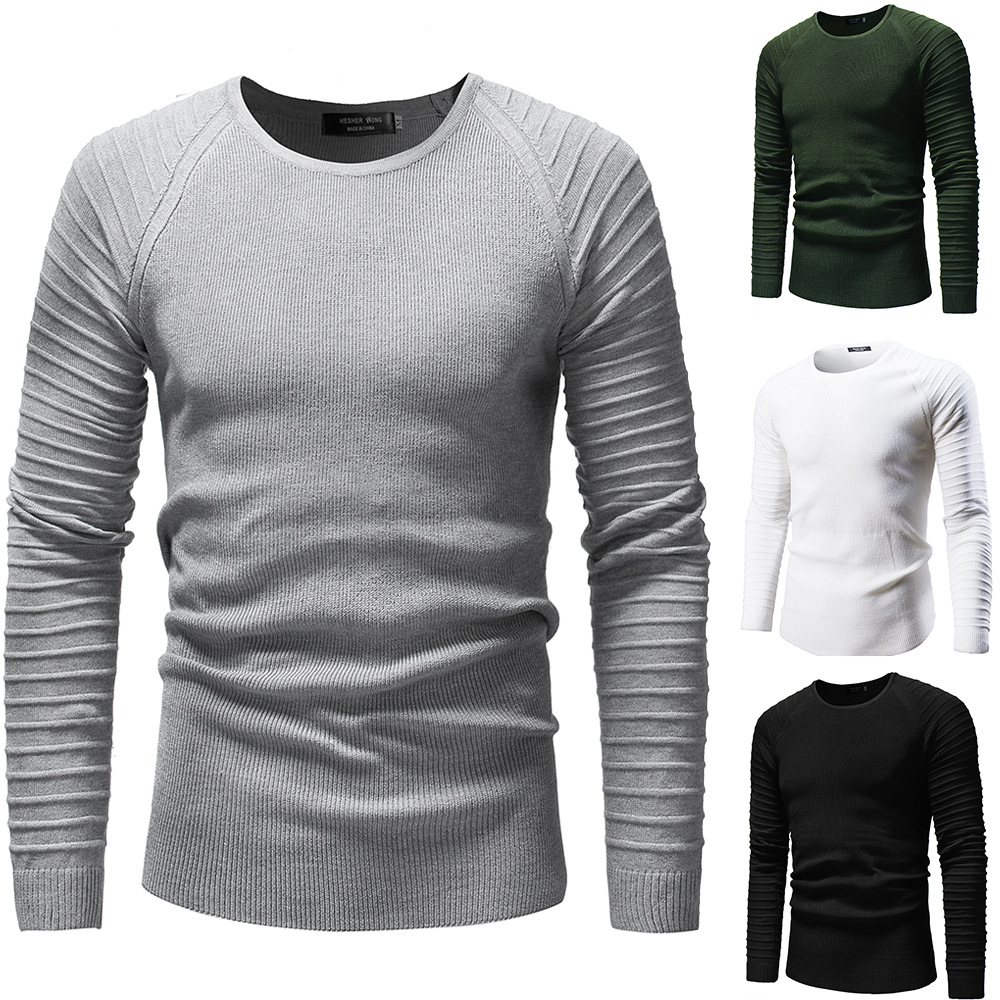 New Men Casual Knitwear Fall Winter Sweater Coats Personality Pleated Long Sleeve Mens Pullover Sweaters Male Christmas Clothes
