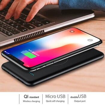 10000 мАч, беспроводной внешний аккумулятор, внешняя батарея, Беспроводная зарядка, внешний аккумулятор для IPhone11 X, Samsung, Xiaomi, мобильный телефон...