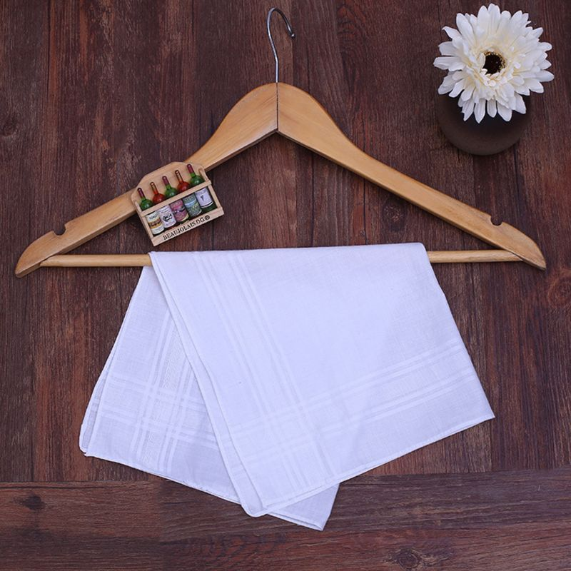 40x40cm Men Womens Fancy Woven Handkerchiefs Classic Pure White Cotton Hankies Stripes Jacquard Print Pocket Square Towel Gift