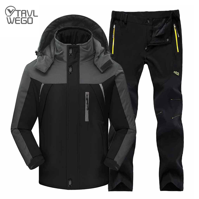 TRVLWEGO Winter Ski Suit Men Windproof Waterproof Snowboard Jacket And Pants Outdoor Super Warm Thick Thermal Fleece Snow Coat