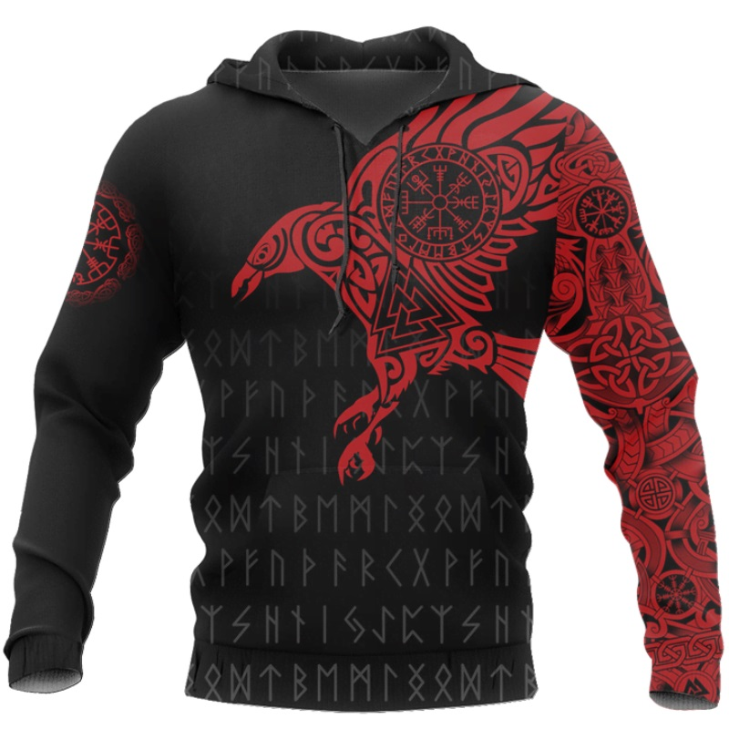 Viking - The Raven Of Odin Tattoo 3D Printed Men Hoodies Harajuku Fashion Hooded Sweatshirt Autumn Unisex Hoodie Sudadera Hombre