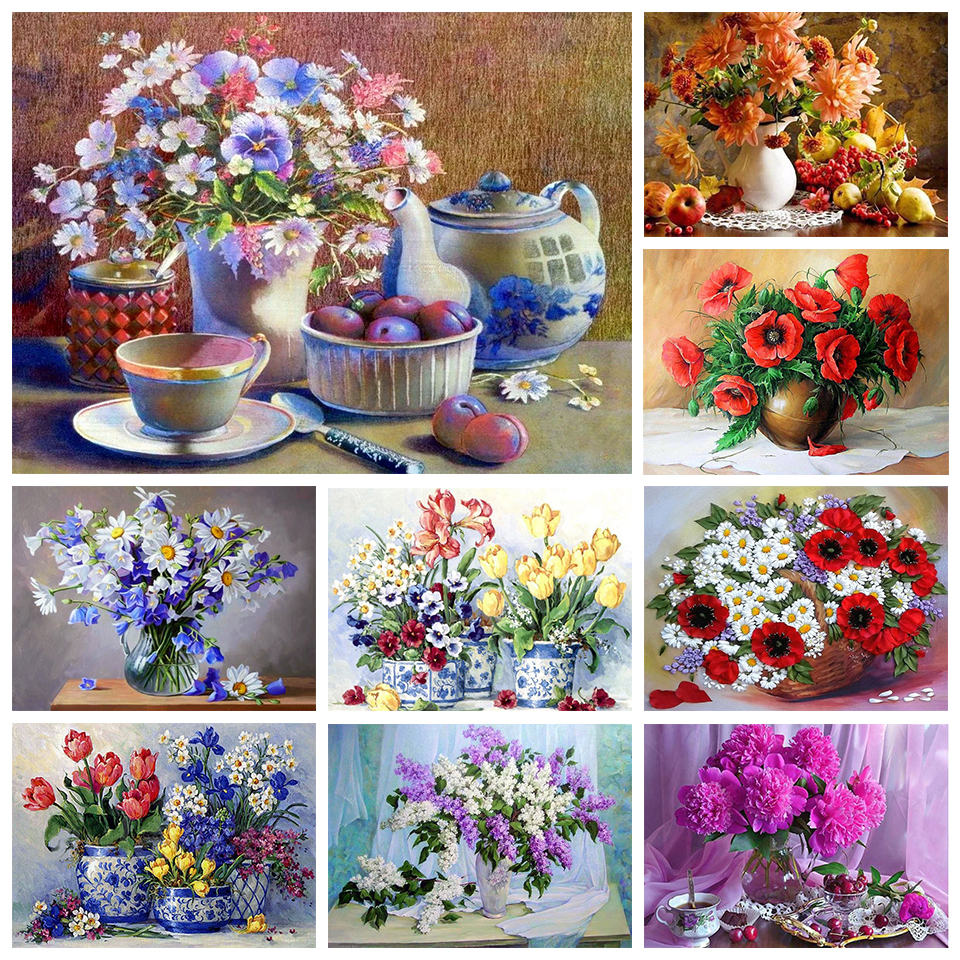 DIY 5D diamond painting cross stitch kit beautiful flower mosaic art painting rhinestone embroidery decorative painting