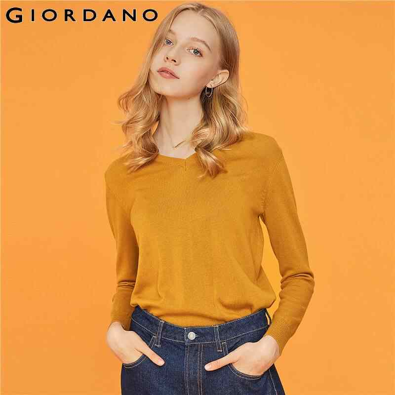 Giordano Women Sweater Solid V-Neck Thin Knitwear Long Sleeve Cotton Blend Pull Femme Elegant Lady Clothes 05359865