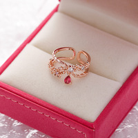 Korea`s New Exquisite Crystal Flower Ring Fashion Temperament Sweet Versatile Love Opening Ring Female Jewelry