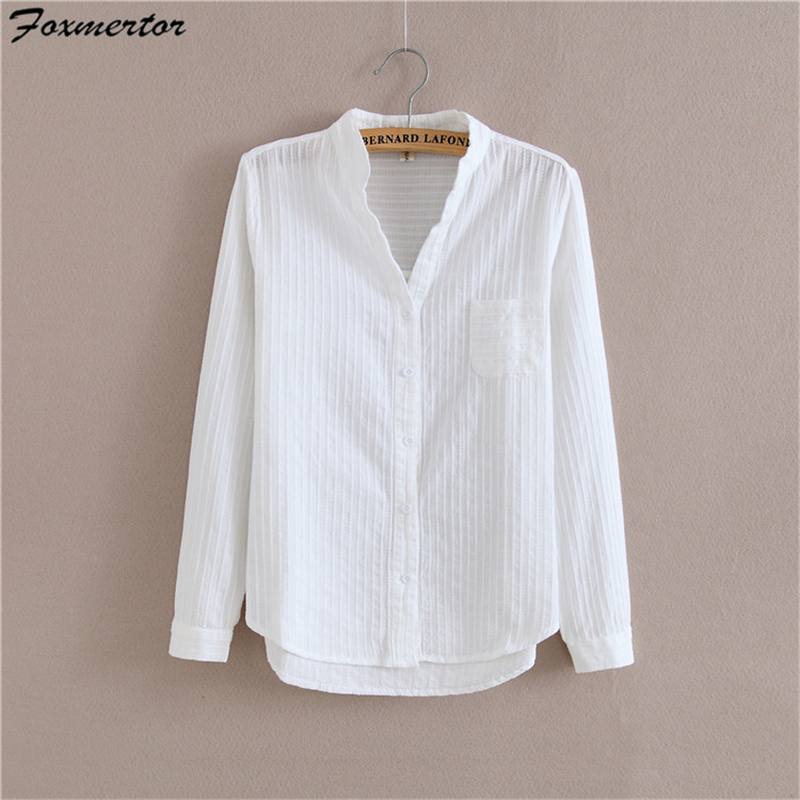 Foxmertor 100% Cotton White Blouse Shirt  2018 Spring Autumn Blouses Shirts Women Long Sleeve Section Casual Tops Solid Pocket-in Blouses & Shirts from Women's Clothing
