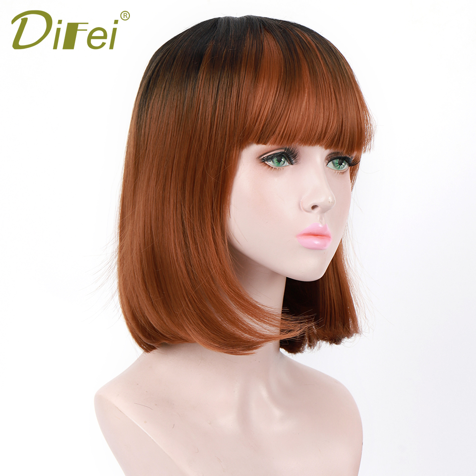 DIFEI Short Straight Black Brown Ombre Synthetic Wigs With Bangs For Women Medium Length Bob Wig Daily Use False Hair