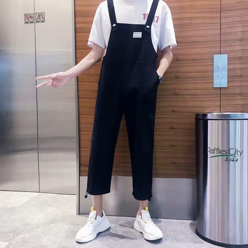 INS Suspender Pants Men's Fashion Straight-Cut Korean-style Onesie Men And Women Couples BF Students Trend Capri Workwear Suspen