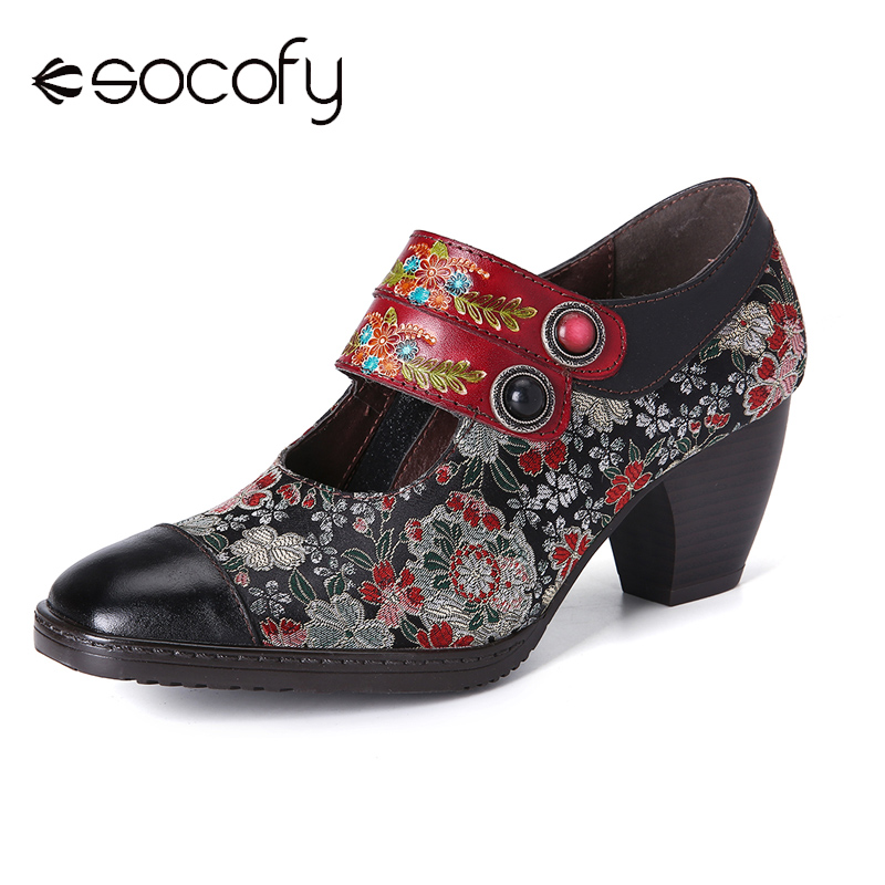 SOCOFY Retro Flower Printing Bead Buckle Strap Genuine Leather Low Heel Zipper Pumps Shoes Women Shoes Botas Mujer 2020