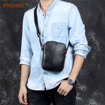 PNDME high quality top layer cowhide men's chest bag fashion simple genuine leather small phone black shoulder messenger bags