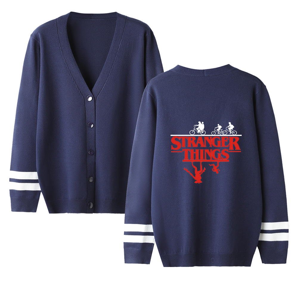 Stranger Things V-neck Cardigan Sweater Men/women Fashion Navyblue Casual Harajuku Sweater Stranger Things Popular Casual Tops