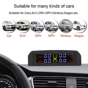 Image 5 - USB or Solar Charging Car TPMS Tire Pressure Monitoring System HD Digital LCD Display Auto Alarm tool Wireless 4 external Sensor