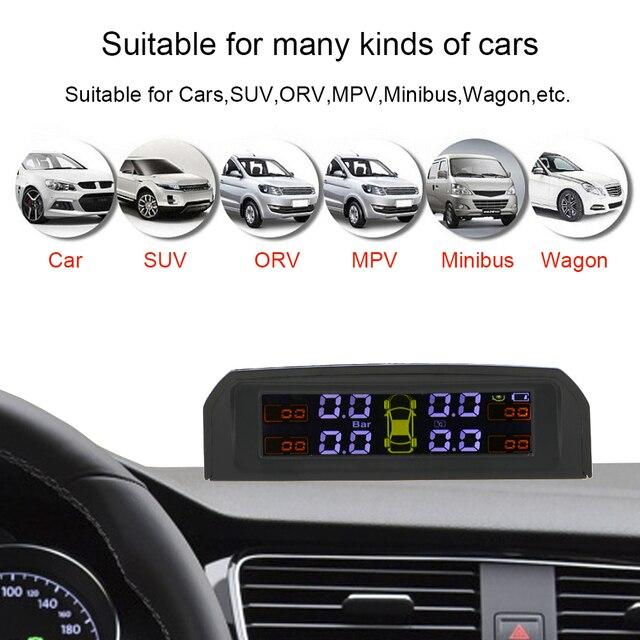 USB or Solar Charging Car TPMS Tire Pressure Monitoring System HD Digital LCD Display Auto Alarm tool Wireless 4 external Sensor 4