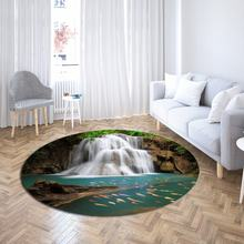 Водопад круглый ковер 3d принт природа пейзаж компьютерное кресло