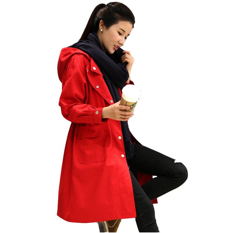 Coupe-vent à capuche manteaux femme moyenne longue section printemps 2019 nouveau lâche grande taille rouge manteau veste femmes automne