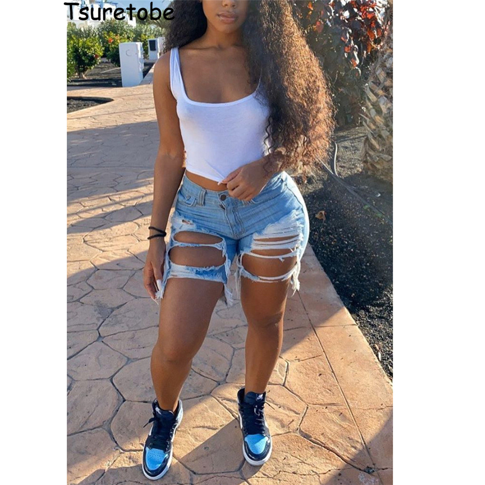 Tsuretobe Sexy Ripped Jean Shorts Women Summer High Waist Denim Shorts Tassel Cut Up Shorts For Women Fashion Distressed Shorts