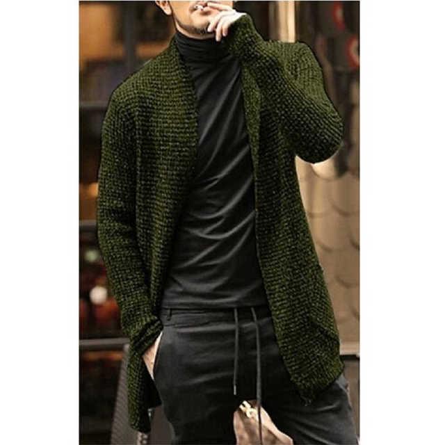 Jersey para hombre, cárdigan de manga larga, ropa de estilo de arrastre para hombre, abrigo grueso y cálido