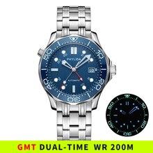 Bracelet de plongée étanche avec cadran ondulé bleu GMT, en cristal saphir automatique, maître de mer, 300M SS, nouveau, 20ATM