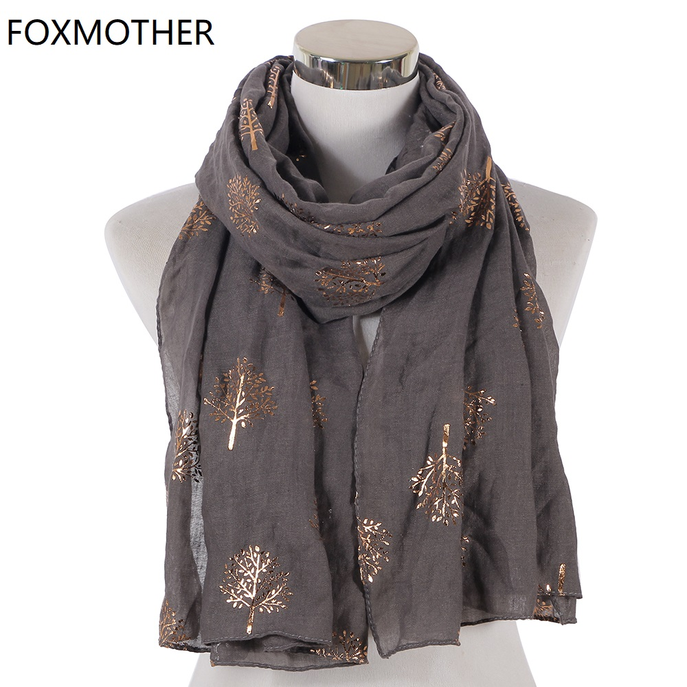 FOXMOTHER Winter Women Foil Gold Glitter Scarf Wraps Tree Scarves For Women Ladies